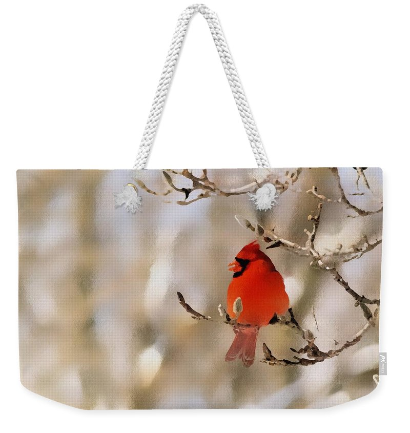 Cardinal Weekender Tote Bag featuring the photograph In Red by Gaby Swanson