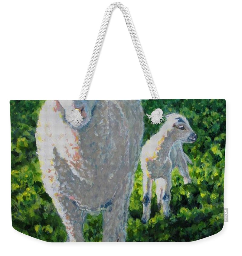 Sheep Weekender Tote Bag featuring the painting In Sheep's Clothing by Karen Ilari