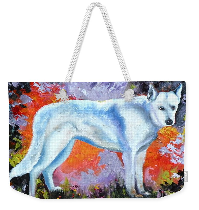 Dogs Weekender Tote Bag featuring the painting In Shepherd Heaven by Susan A Becker