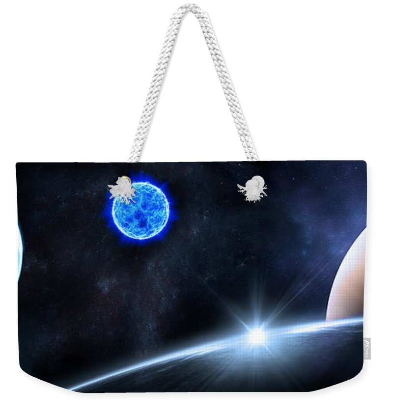 Abstract Weekender Tote Bag featuring the digital art in Space by Svetlana Sewell