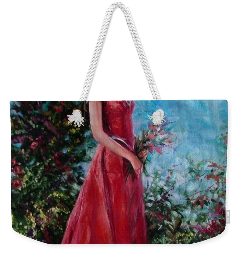Figurative Weekender Tote Bag featuring the painting In summer garden by Sergey Ignatenko