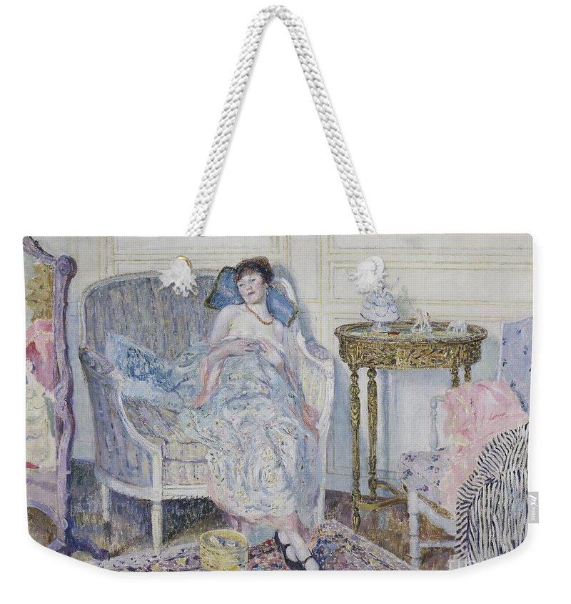 Frieseke Weekender Tote Bag featuring the painting In The Boudoir by Frederick Carl Frieseke