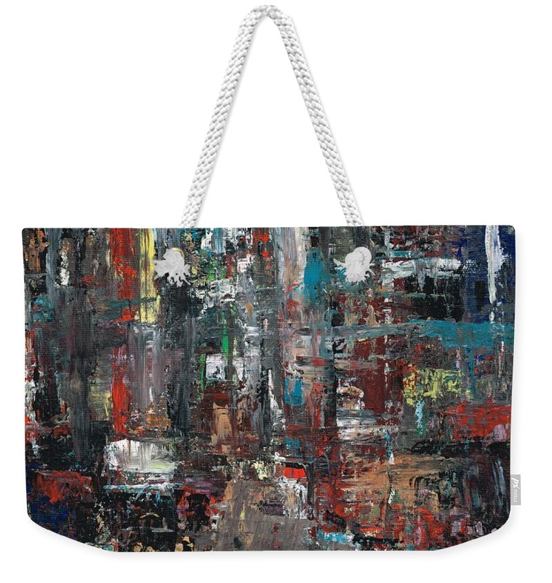 Cities Weekender Tote Bag featuring the painting In The City by Frances Marino