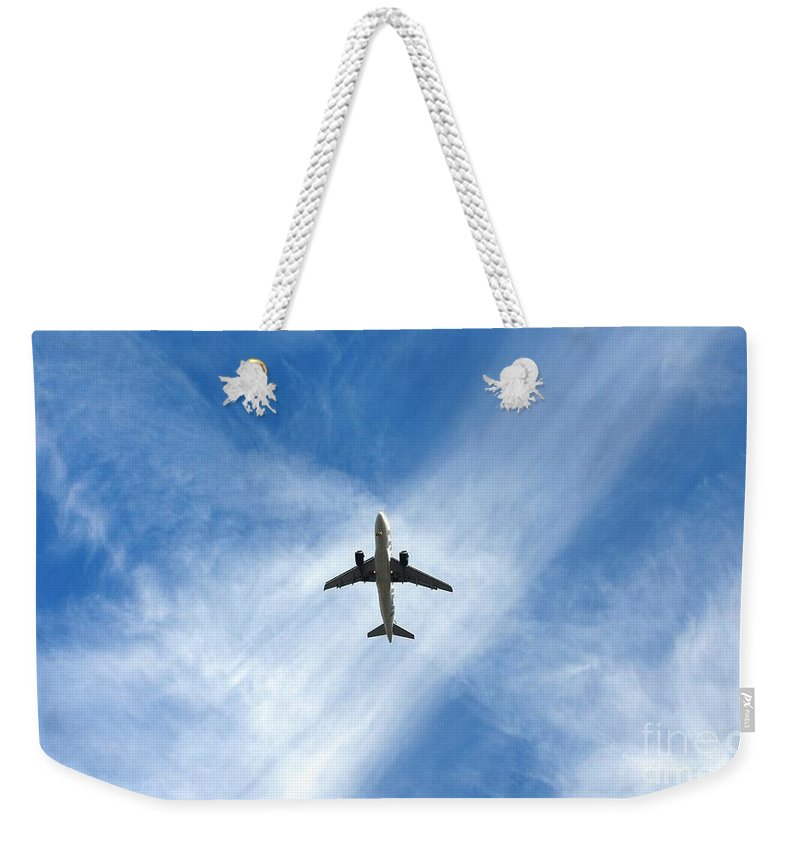 Airplanes Weekender Tote Bag featuring the photograph In The Cloud X Zone by Angela J Wright