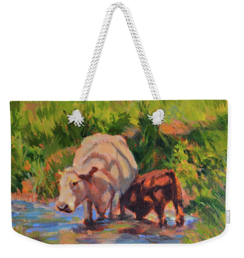 Impressionism Weekender Tote Bag featuring the painting In The Creek by Keith Burgess