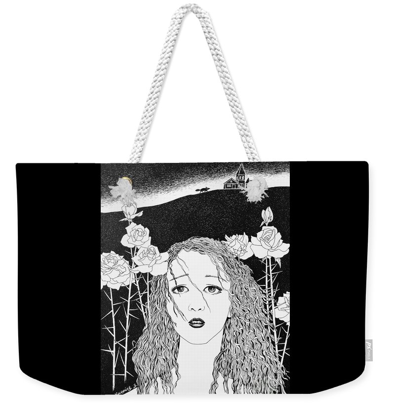 Pen And Ink Weekender Tote Bag featuring the drawing In The Distance by Xueping Zhang