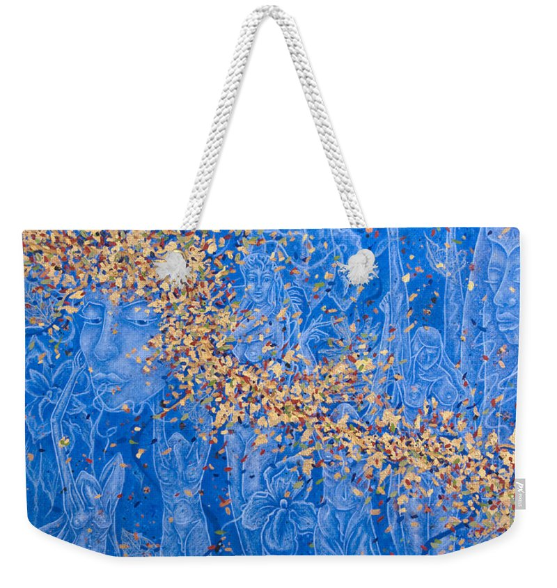 Waterfall Weekender Tote Bag featuring the painting In The Falls by Judy Henninger