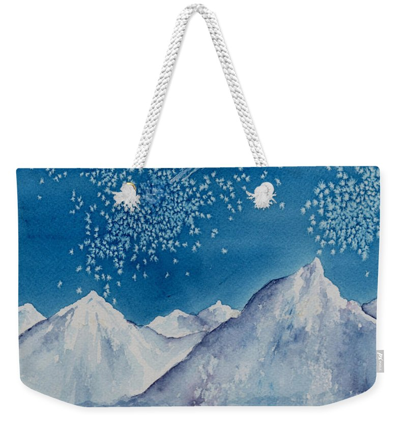 Watercol.or Scenery Landscape Fantasy Ice Snow Cold Winter Mountains Frozen Weekender Tote Bag featuring the painting In The Far North by Brenda Owen