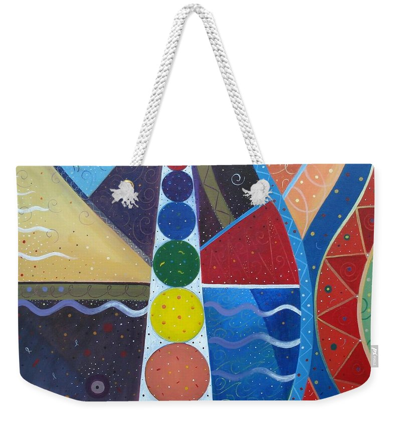 Abstract Landscape Weekender Tote Bag featuring the painting In The Flow by Helena Tiainen
