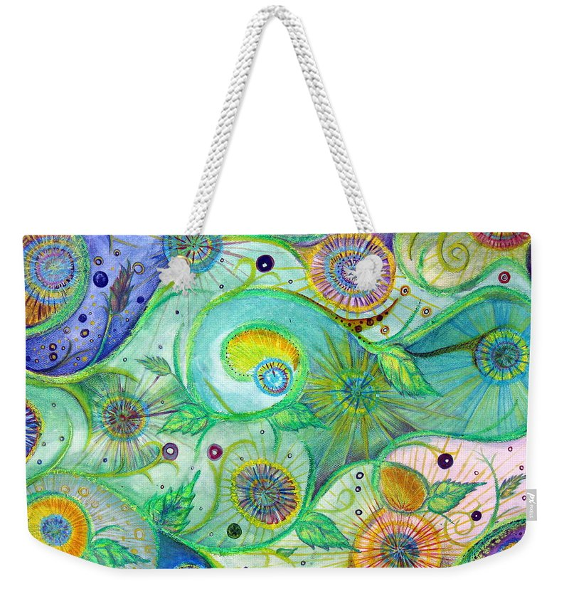 Landscape Weekender Tote Bag featuring the drawing In The Garden by Amanda Kabat