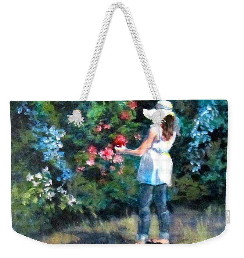 Garden Weekender Tote Bag featuring the painting In The Garden by Barbara O'Toole