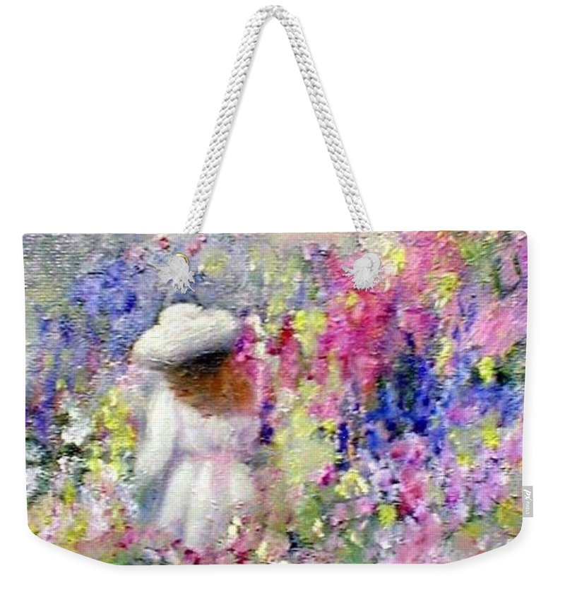Impressionism Weekender Tote Bag featuring the painting In The Garden by Gail Kirtz