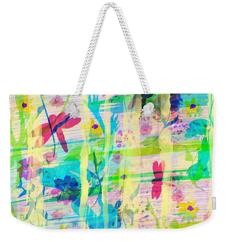 Abstract Weekender Tote Bag featuring the digital art In the Garden by William Russell Nowicki