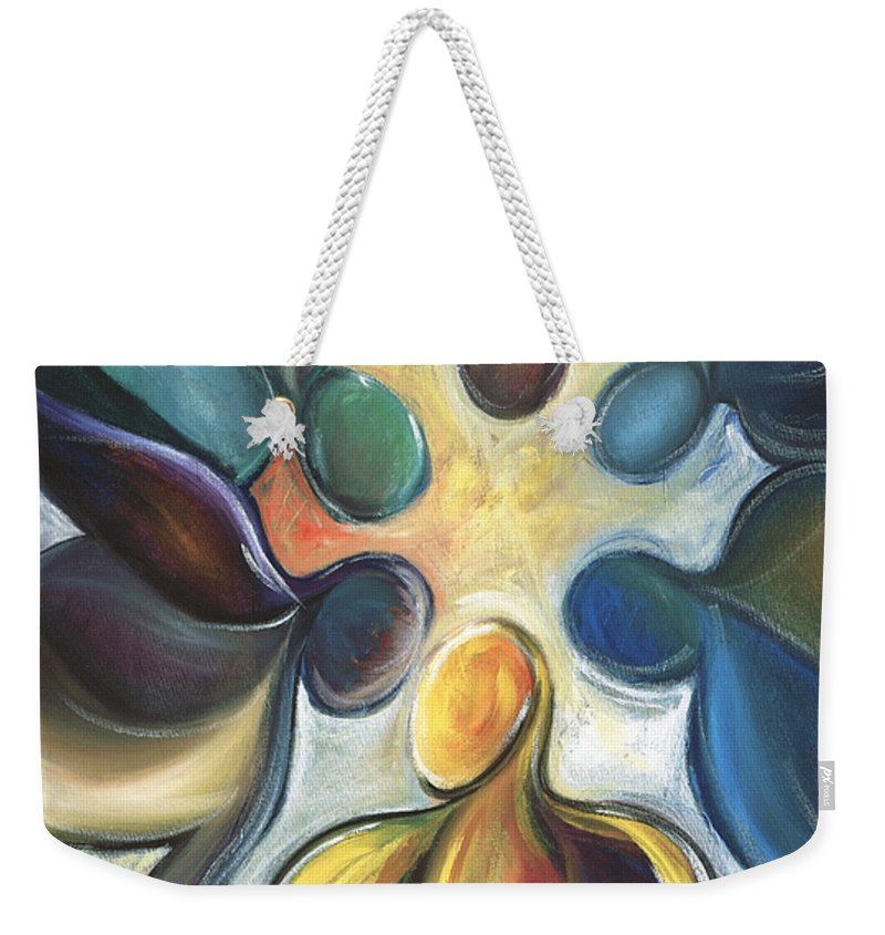 Atlanta Falcons Weekender Tote Bag featuring the painting In The Huddle by Kristye Addison Dudley