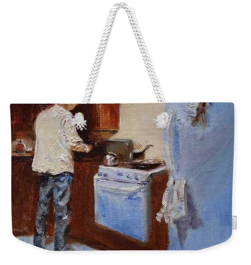 Cooking Weekender Tote Bag featuring the painting In The Kitchen by Barbara Andolsek