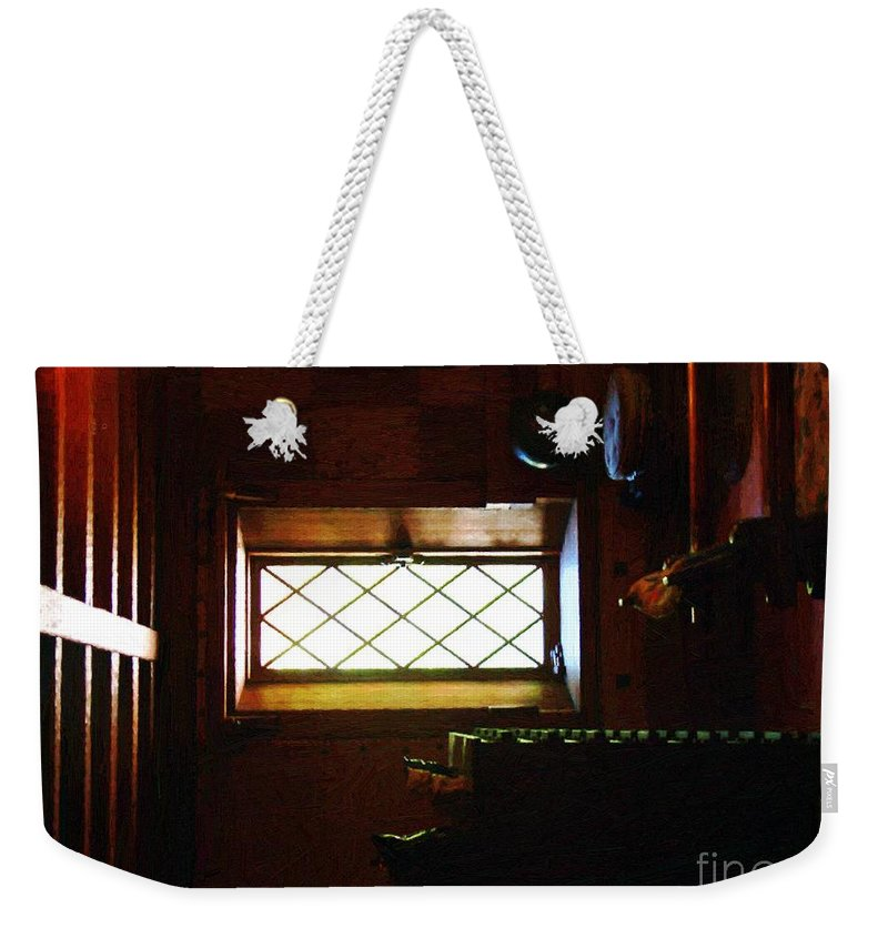 Antiques Weekender Tote Bag featuring the painting In The Lattice-windowed Attic by RC DeWinter