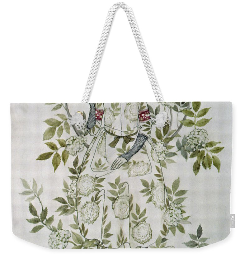 'in The Midst Of A Tree Sat A Kindly-looking Old Woman' Weekender Tote Bag featuring the drawing In The Midst Of A Tree Sat A Kindly Looking Old Woman' by Arthur Rackham