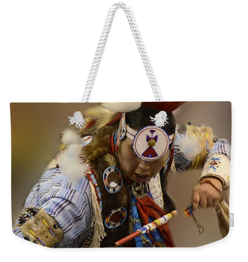 Pow Wow Weekender Tote Bag featuring the photograph Pow Wow In The Moment by Bob Christopher