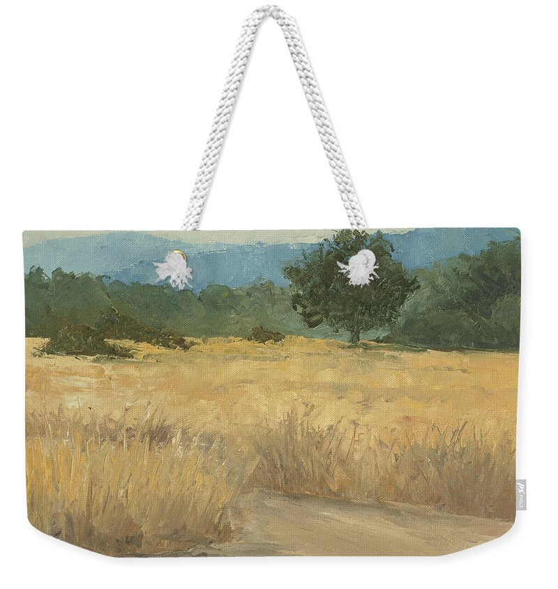 Meadow Landscape Weekender Tote Bag featuring the painting In The Open by Mandar Marathe