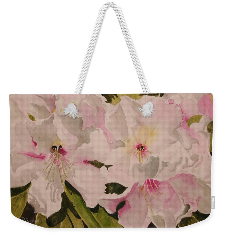 Pink Weekender Tote Bag featuring the painting In The Pink by Jean Blackmer
