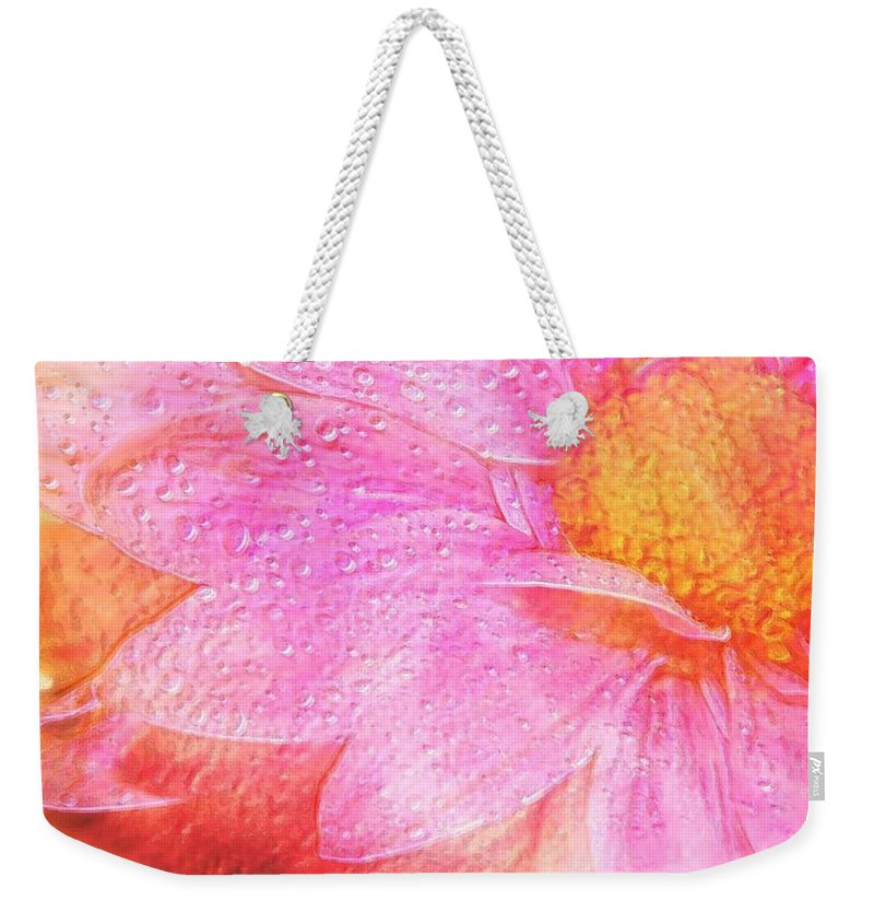 Flower Pink Digital Painting Art Design Macro Bubbles Weekender Tote Bag featuring the photograph In The Pink by Linda Sannuti