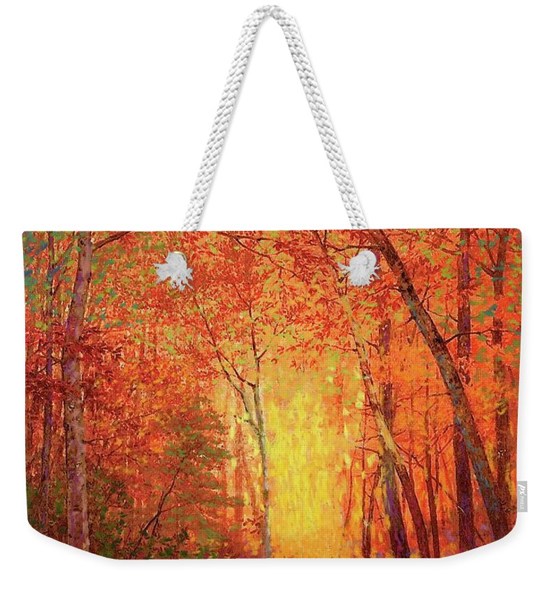 Meditation Weekender Tote Bag featuring the painting In The Presence Of Light Meditation by Jane Small
