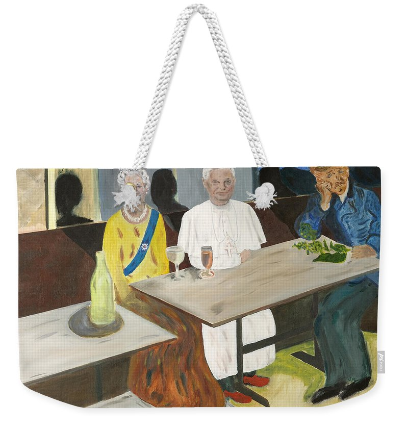 Pub Weekender Tote Bag featuring the painting In The Pub by Avi Lehrer