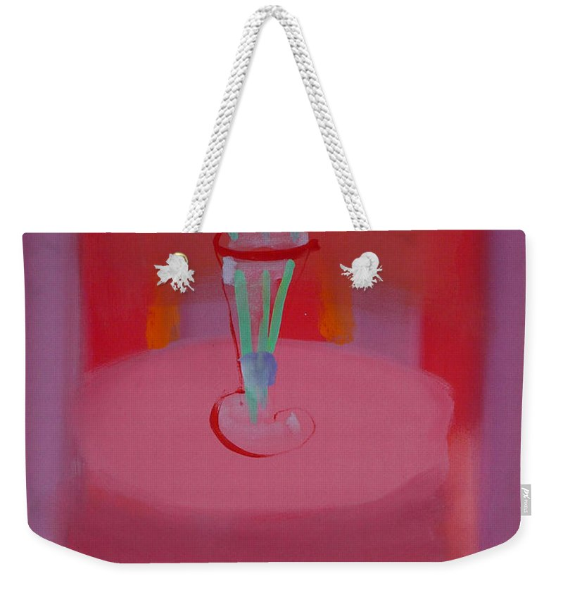 Vase Weekender Tote Bag featuring the painting In The Red Room by Charles Stuart