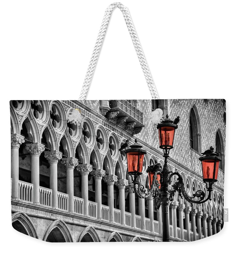Venice Weekender Tote Bag featuring the photograph In The Shadow Of The Doges Palace Venice by Carol Japp