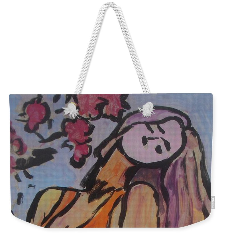 Blond Weekender Tote Bag featuring the painting In The Shadow Of The Flowers by Vesna Antic
