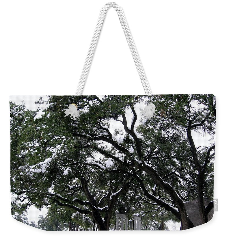 Cemetery Weekender Tote Bag featuring the photograph In The Snow by Amy Hosp