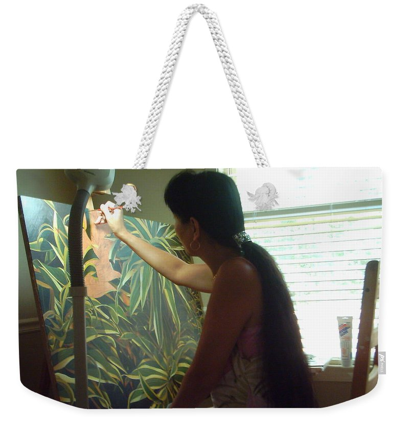 Artist Painting In The Studio Weekender Tote Bag featuring the photograph In The Studio by Thu Nguyen