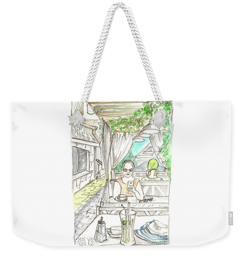 Cafe Weekender Tote Bag featuring the painting In The Summer Cafe by Yana Sadykova