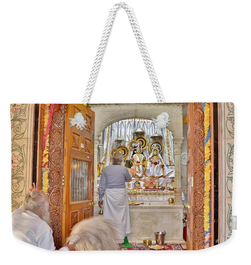Temple Weekender Tote Bag featuring the photograph In The Temple Door by Kim Bemis