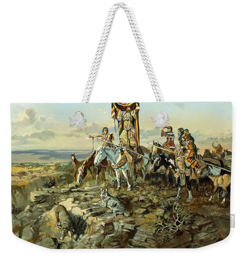 Hunt Weekender Tote Bag featuring the painting In The Wake Of The Hunters by Charles Marion Russell