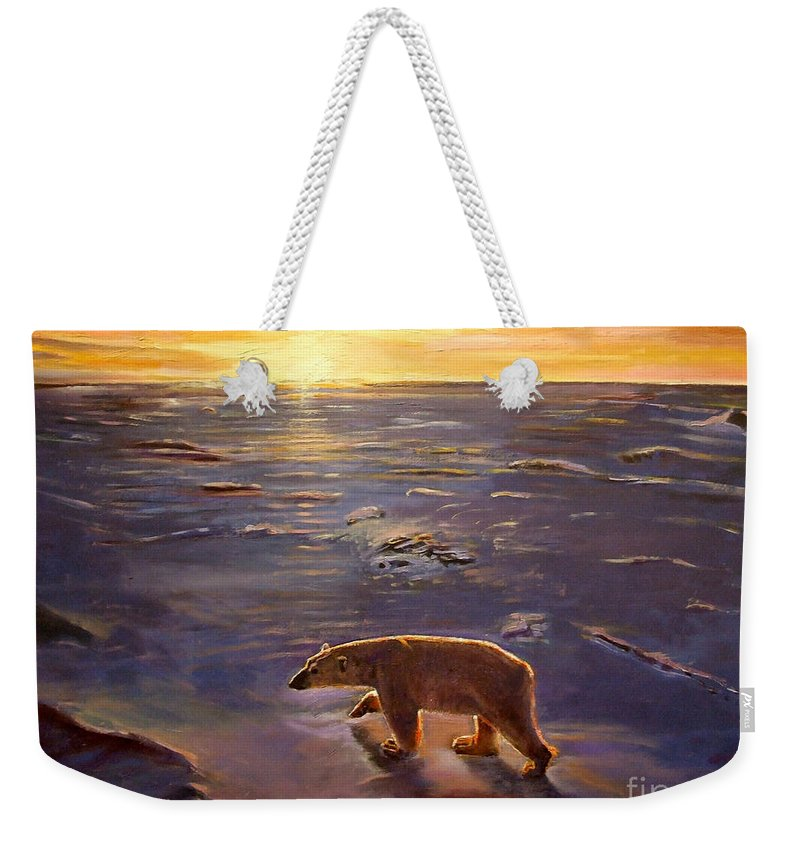 Polar Bear; Arctic; North Pole; Sunset; Setting Sun; Global Warming; Climate Change; Environmental; Melting Ice; Solitary; Deserted; Bear; Ice Weekender Tote Bag featuring the painting In The Wilderness by Kevin Parrish