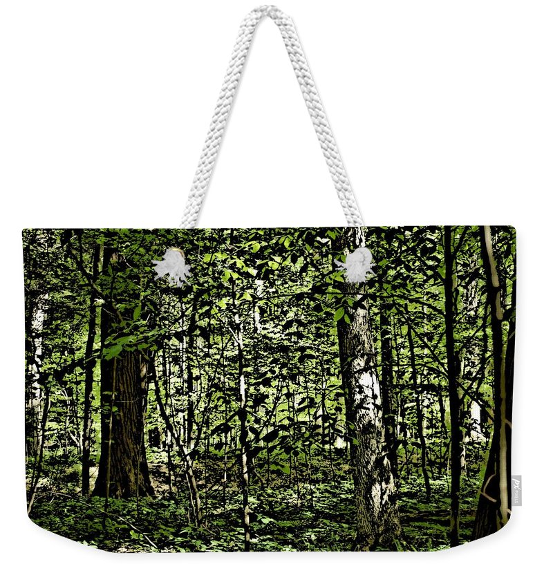 Landscape Weekender Tote Bag featuring the photograph In The Woods Wc by David Lane