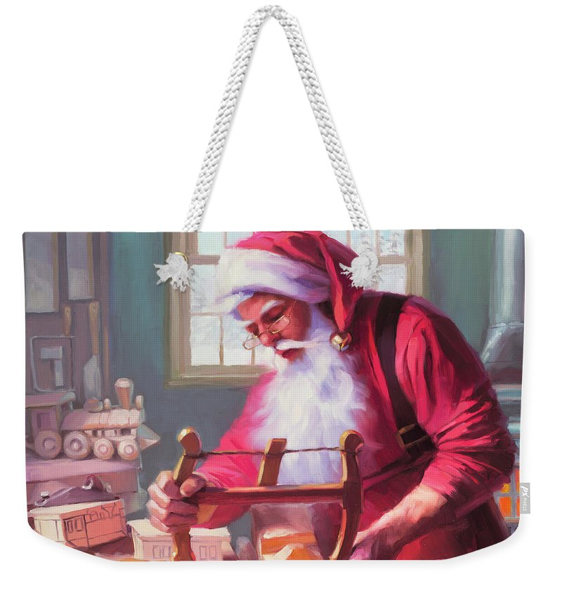 Santa Weekender Tote Bag featuring the painting In The Workshop by Steve Henderson