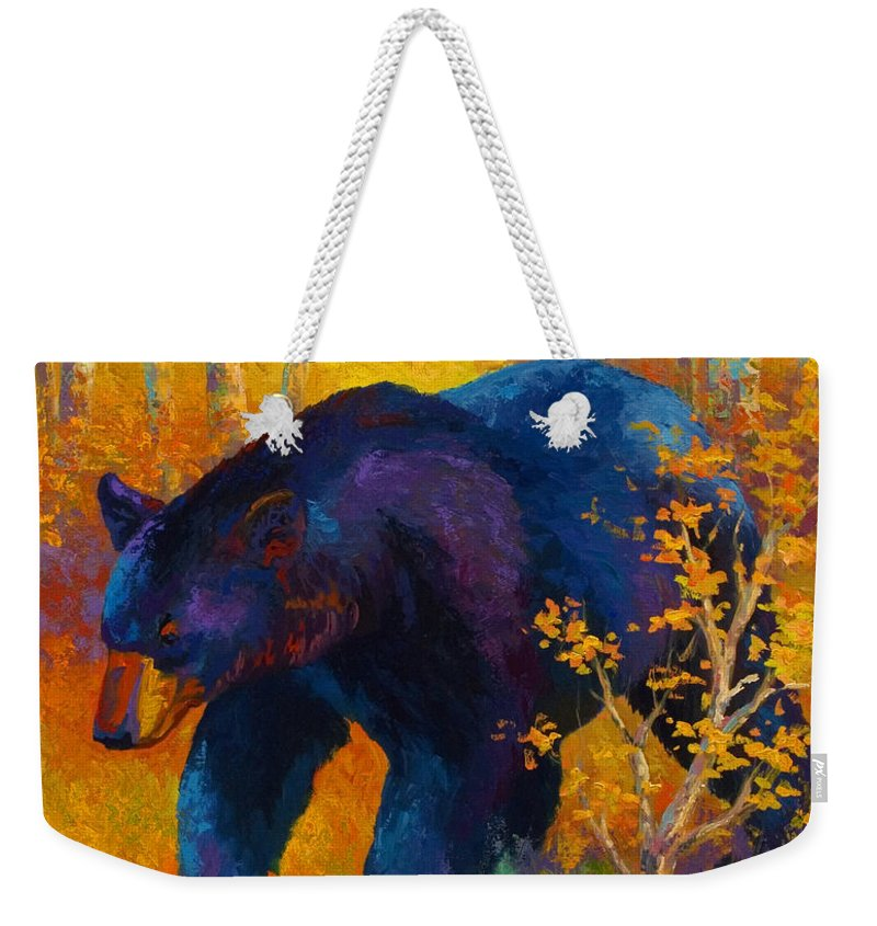 Bear Weekender Tote Bag featuring the painting In To Spring - Black Bear by Marion Rose