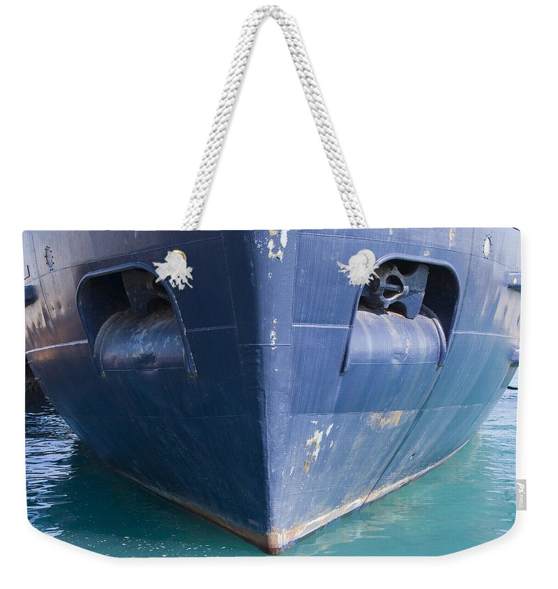 Chicago Windy City Ship Boat Lake Michigan Water Sun Sunny Blue Anchor Weekender Tote Bag featuring the photograph In Waiting by Andrei Shliakhau