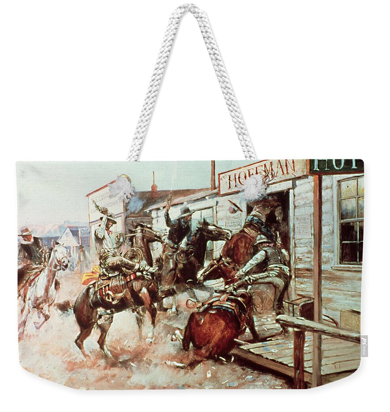 Cowboy Weekender Tote Bag featuring the painting In Without Knocking by Charles Marion Russell