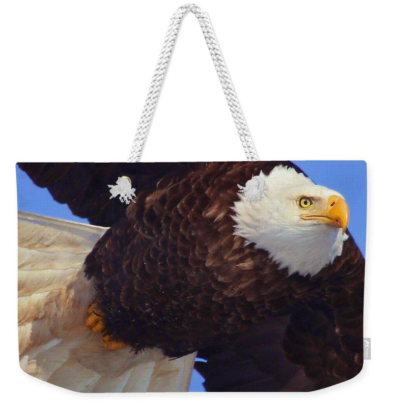 Eagle Weekender Tote Bag featuring the photograph In Your Face by John Absher