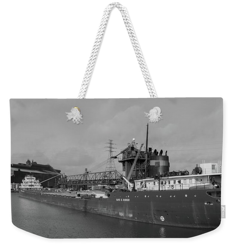 Kaye E Barker Weekender Tote Bag featuring the photograph Inbound To Severstal - Black And White by Gales Of November