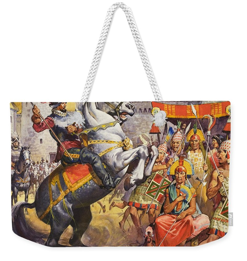 Horse; Spanish; Conquistador; C16th; Soldier; Armour; Spear; Lance; Headdress; Tribe; Civilisation; Fort; Ruler; Sitting; Rearing; Children's Illustration; Inca Weekender Tote Bag featuring the painting Incas by James Edwin McConnell
