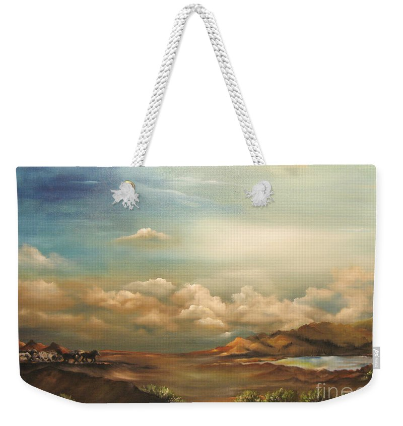 Mountains Weekender Tote Bag featuring the painting Incentive by Carol Sweetwood