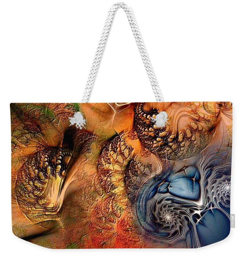 Abstract Weekender Tote Bag featuring the digital art Incident At Neshabur by Casey Kotas
