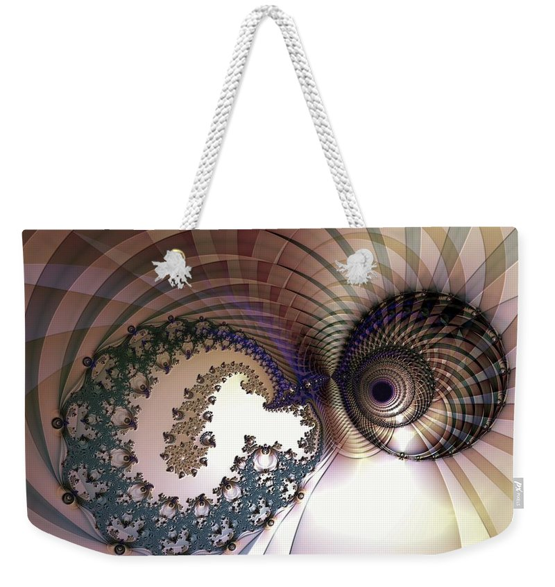 Abstract Weekender Tote Bag featuring the digital art Incompatible Elements by Casey Kotas