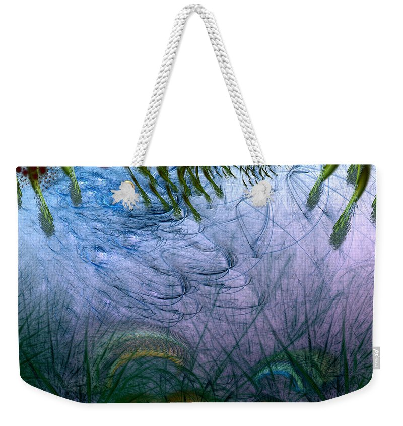 Abstract Weekender Tote Bag featuring the digital art Incursion Into The Inversion by Casey Kotas