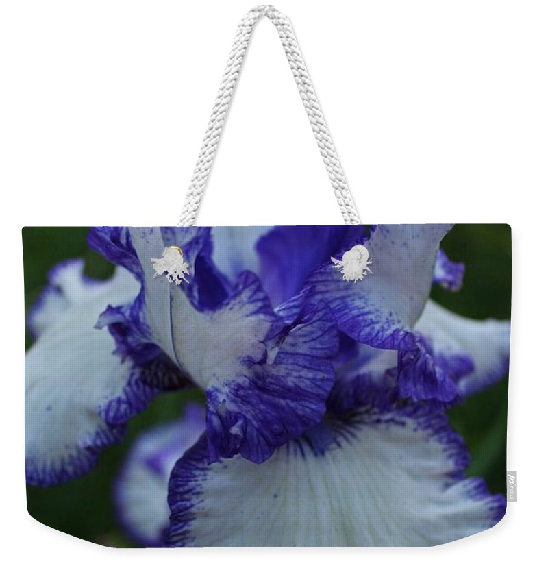 Iris Weekender Tote Bag featuring the photograph Indelible Passion by Michiale Schneider