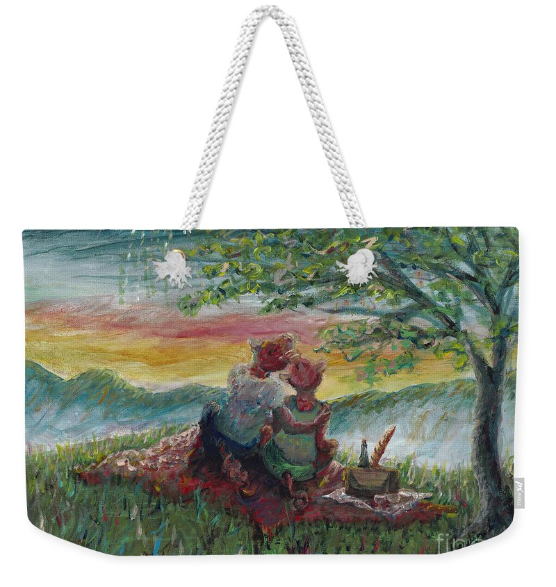 Landscape Weekender Tote Bag featuring the painting Independance Day Pignic by Nadine Rippelmeyer